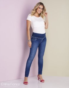Calça Gestante Jeans Skinny Azul com Lavagem