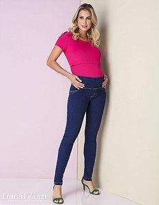 Calça Gestante Jeans Skinny Moletinho