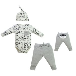 Conjunto Bebê body, calça e gorro Pinguim