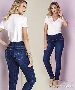 Calça Gestante Jeans Moletinho Azul Médio