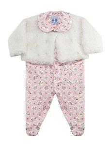 Macacão Bebê Menina Plush com Casaco de Pele