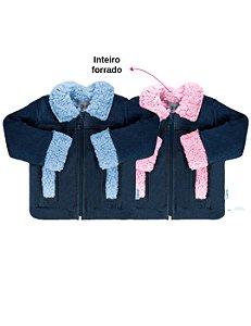 Jaqueta jeans bebê forrada com pelúcia azul/rosa