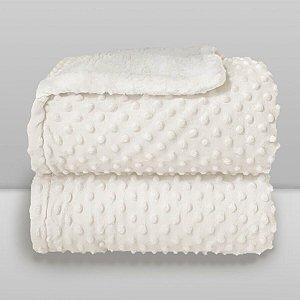 Cobertor Bebê Duplo Microfibra com Pelúcia Off White Poá