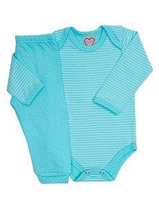 Conjunto body e calça Bebê Malha Listras e Poá