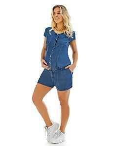 Macaquinho Gestante e Amamentação Jeans Molly