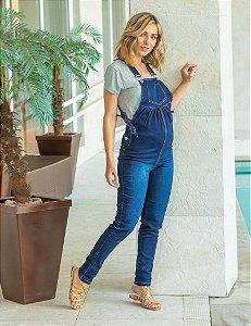 Jardineira Jeans Gestante com amarração lateral
