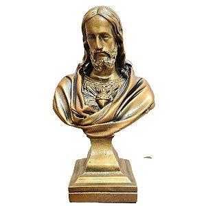 Busto Sagrado Coração de Jesus Busto Mármore 26 Cm Bronze
