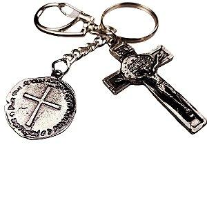 Chaveiro Crucifixo com Medalha Duas Cruzes