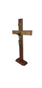 Crucifixo Madeira com Cruz São Bento 38 Cm