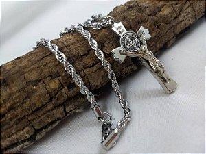 Crucifixo São Bento Inox
