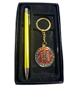 Kit Chaveiro e Caneta Medalha de São Bento 2