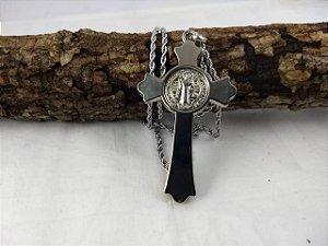 Cordão Crucifixo de São Bento Inox