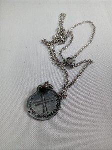 Cordão Inox Medalha 2 Cruzes