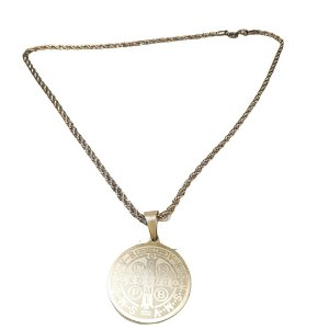 Cordão Medalha de São Bento Inox Dourado