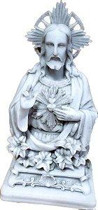 Busto Sagrado Coração de Jesus Flor 25 cm