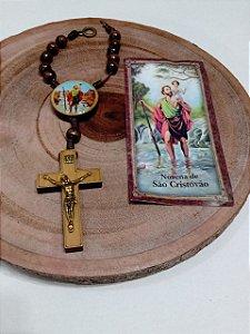 Dezena Carro São Cristóvão Crucifixo Madeira