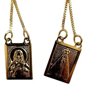 Escapulário Folheado Nossa Senhora Aparecida e Sagrado Coração de Jesus