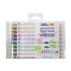 MARCADOR DUAL BRUSH METALIC - LEOARTE