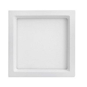 Luminária Plafon 20W LED Embutir Recuado Quadrado Branco Quente
