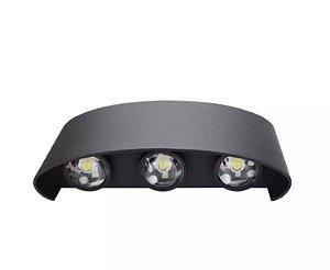 Luminária Arandela LED 6W Externa Branco Frio Preta