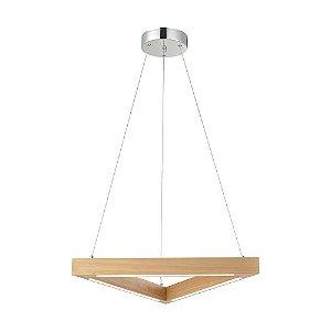 Pendente Triangular de Madeira LED Embutido Branco Quente