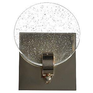 Luminária Arandela LED 7W Cristal Gotas Dourado Branco Quente