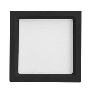 Luminária Plafon 25W LED Embutir Recuado Quadrado Branco Quente Preto