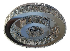 Lustre de Cristal K9 Plafon LED Redondo 3 Cores 40cm