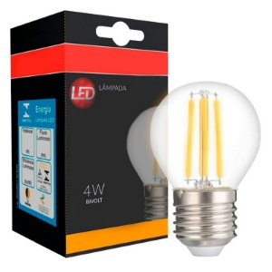 Lâmpada LED Bolinha G45 4W Vidro Branco Quente Filamento | Inmetro