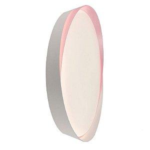 Luminária Plafon LED 42cm 48W Sobrepor Redondo Chanfro 3 Cores Rosa