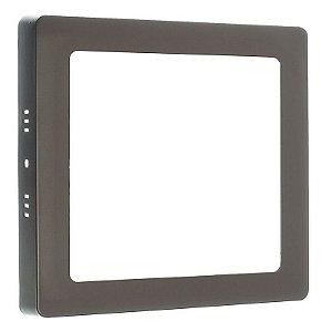 Luminária Plafon 12w LED Sobrepor Quadrado Branco Quente Marrom