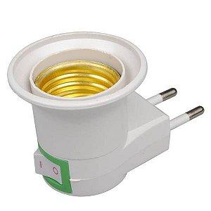 Adaptador Soquete Lâmpada LED E27 com Tomada Plug Bipino