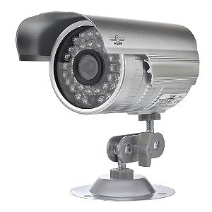 Câmera Segurança de LED Bullet Infravermelho HD 36 LEDs Prateada
