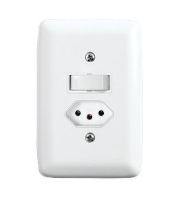 Conjunto Interruptor Simples e Tomada 2P + T de Embutir 10A Branco