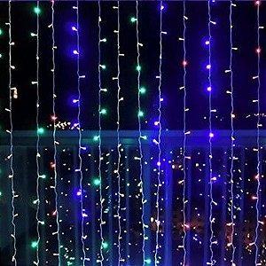 Cortina de LED 300 LEDs Cascata Multifunções RGB Colorida 110V