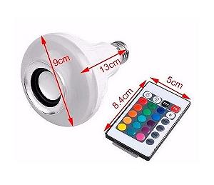 Lâmpada Led 12w Rgb com Caixa de Som Bluetooth e Controle Remoto   Inmetro