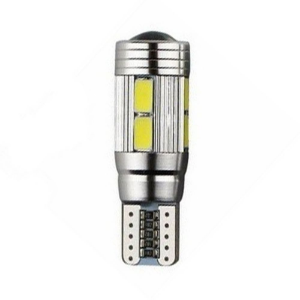 Lâmpada LED Automotiva T10 5W Cambus Cree 10 Leds Branco Quente
