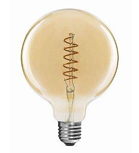 Lâmpada LED Globo Espiral Vintage 4w G125 Branco Quente | Inmetro