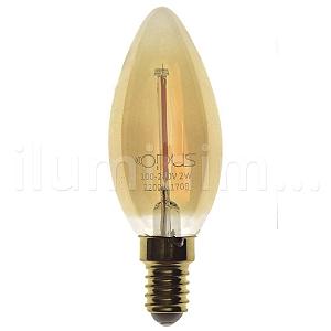 Lampada LED Vela Vintage E27 2W Bivolt Branco Quente | Inmetro
