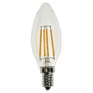 Lâmpada LED Vela Cristal E14 4W Bivolt Branco Frio | Inmetro