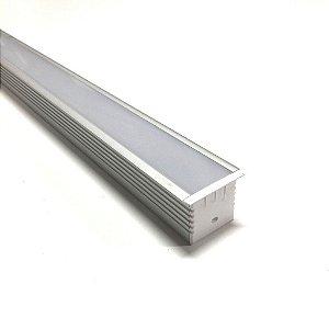 Luminária LED Perfil Linear Retangular de Embutir 240cm