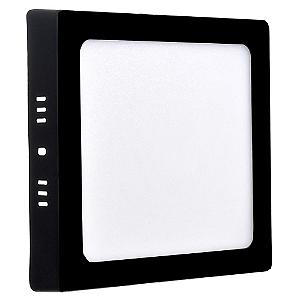 Luminária Plafon 12w LED Sobrepor Branco Frio Preto
