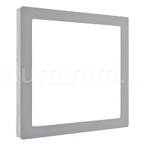 Luminária Plafon 18w LED Sobrepor Branco Frio Cinza