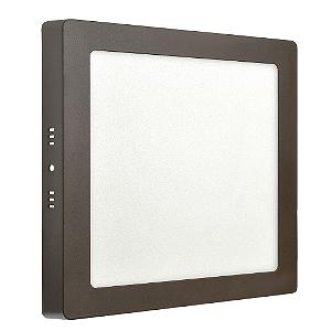 Luminária Plafon 18w LED Sobrepor Branco Frio Marrom