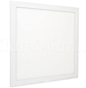 Luminária Plafon 40x40 42W LED Embutir Branco Quente Borda Branca