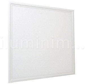 Luminária Plafon 62x62 50W LED Embutir Branco Frio Borda Branca