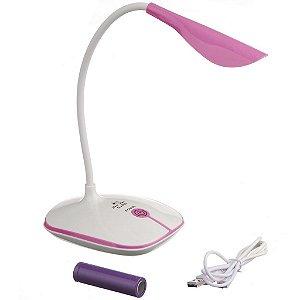 Luminária Touch Sem Fio 3 Níveis Luz 14 Leds Rosa