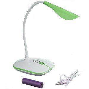 Luminária Touch Sem Fio 3 Níveis Luz 14 Leds Verde
