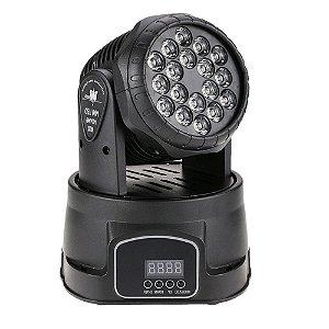 Mini Refletor Holofote LED Moving Head RGB 18 LEDS para Festa