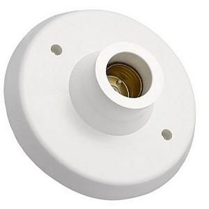 Plafon Plafonier com Soquete E27 para Lâmpada LED Branco - Inmetro